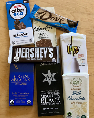 selection of chocolate bars tested