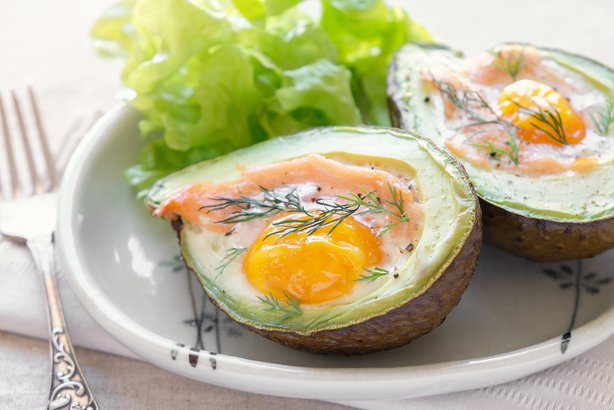 baked smoked salmon, egg in avocado