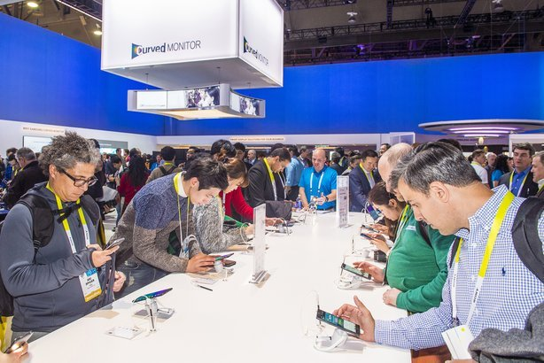 Samsung booth at the CES show held in Las Vegas