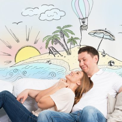 couple planning their beach vacation
