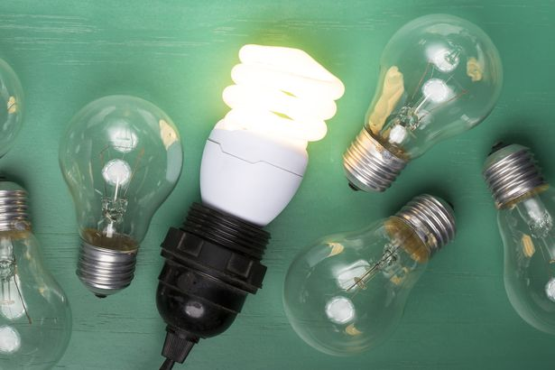 incandescent lightbulbs laying next to one glowing, energy efficient lightbulb