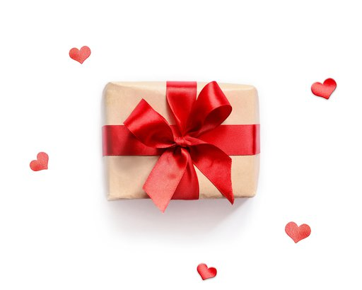 gift with red ribbon on white background