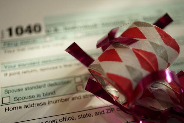 tax form with celebration streamer