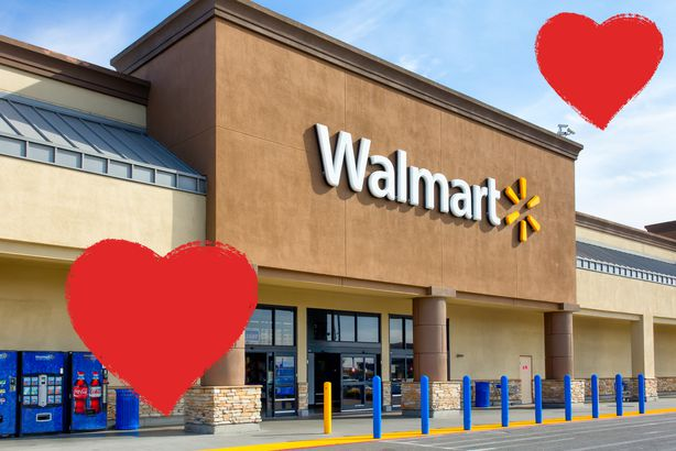 Walmart store exterior with hearts