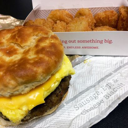 online store 26722 a76e4 Chick-Fil-A, Sausage, Egg and Cheese Biscuit with Hash Browns