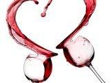 red wine heart splash