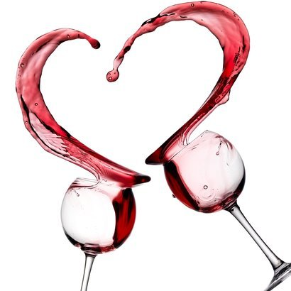 red wine heart splash