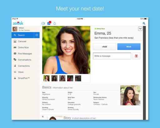zoosk dating site free search