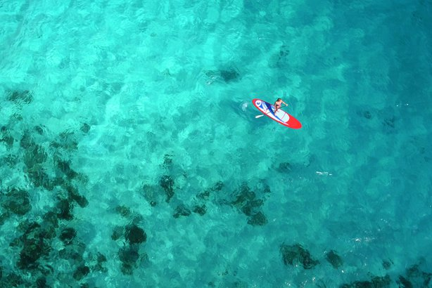 aerial view of woman on paddle board
