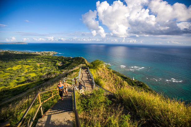 people jogging on trail to Diamond Head Crater, Oahu, Hawaii