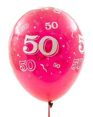 fiftieth birthday pink balloon