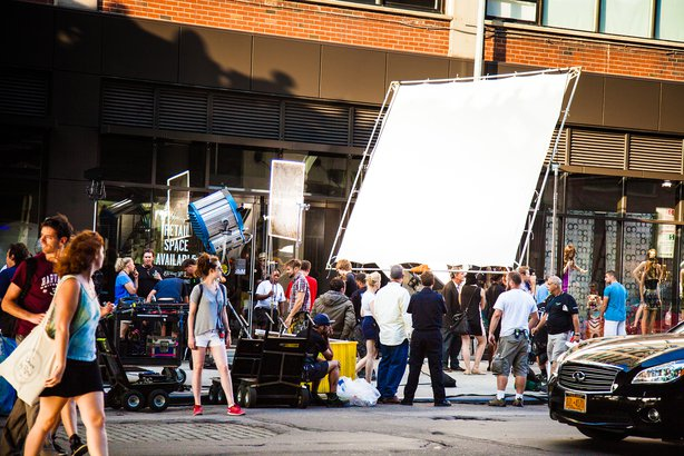 movie crew on streets of New York City