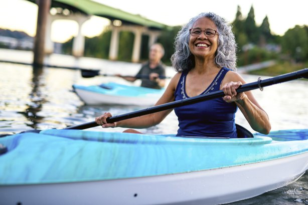 Senior woman in a kayak
