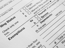US Income tax return close up filing status and exemptions