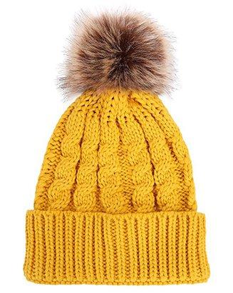 47c4b0576dbf6 Winter Beanie Hat With Faux Fur Pom Pom