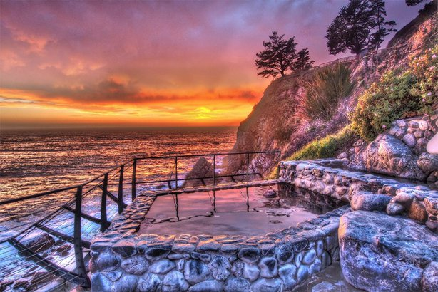 Slates Hot Springs at the Esalen Institute in Big Sur, CA