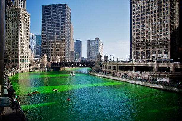 Green Chicago River for St. Patrick's Day in Chicago, Illinois