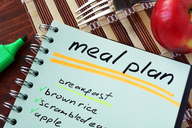 Meal plan written in a notebook on a table