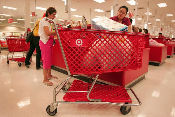 shoppers pay for their merchandise at a Target store