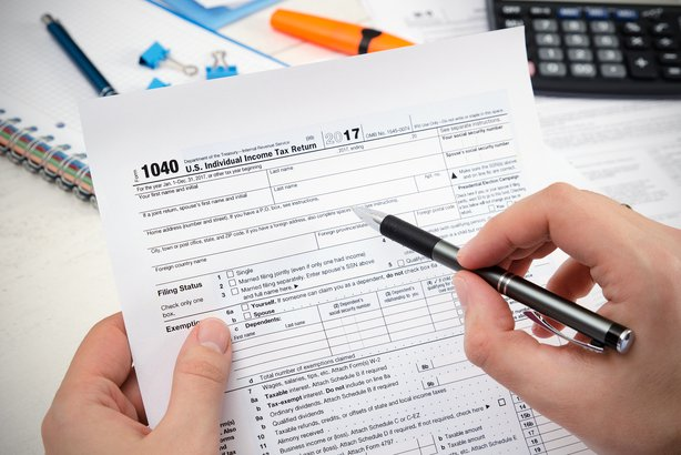 Person filling out their taxes