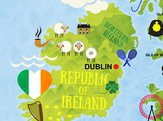 cartoon map of Ireland