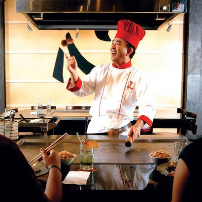 chef preparing food at Benihana