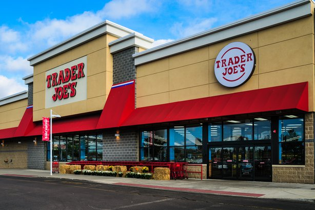 Outside view of a Trader Joe's grocery store in Massachusetts