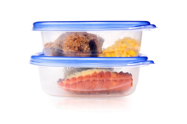 Leftovers in plastic storage containers