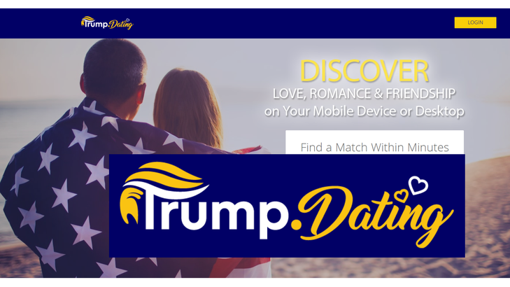 Screen shot of Trump.Dating website