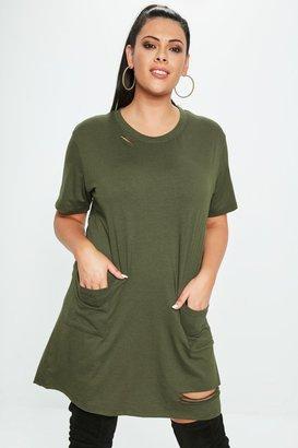 1b1e1048e3d Missguided Curve Khaki Distressed Pocket T Shirt Dress
