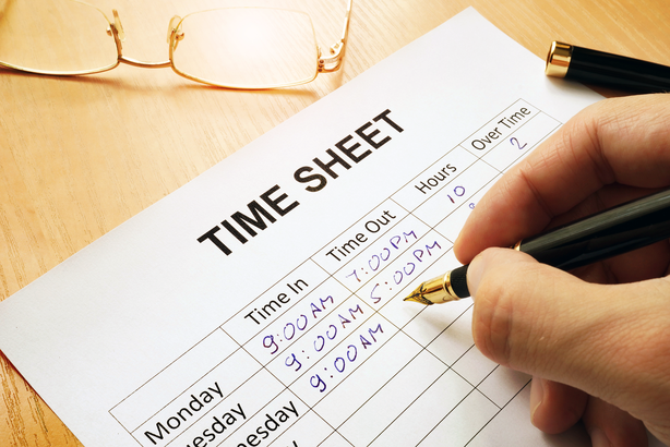 Filling out a time sheet