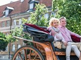 middle-aged couple sitting in horse cart on city street