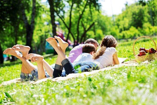 happy family having weekend in summer park