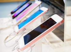 Row of cellphones in a store