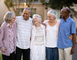 Group of senior friends outside of a retirement community