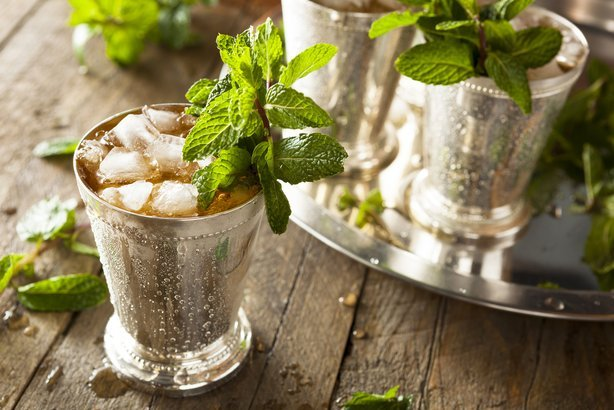 mint juleps on wooden table