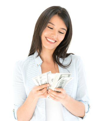 happy woman counting cash