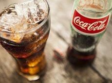 Coke bottle and glass
