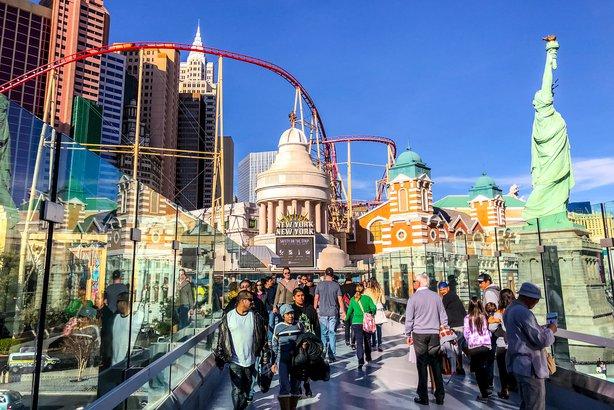 crowds of tourists exploring Las Vegas strip