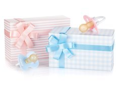 gift box and pacifier for baby boy and baby girl
