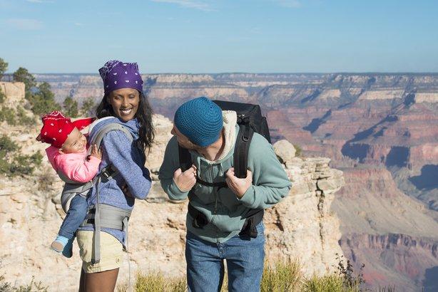family having fun at Grand Canyon