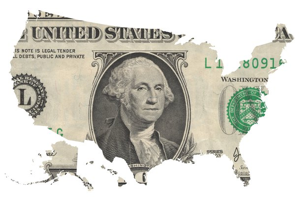 map of USA covered with one dollar bill