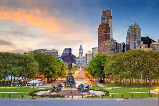 beautiful Philadelphia downtown skyline at sunset