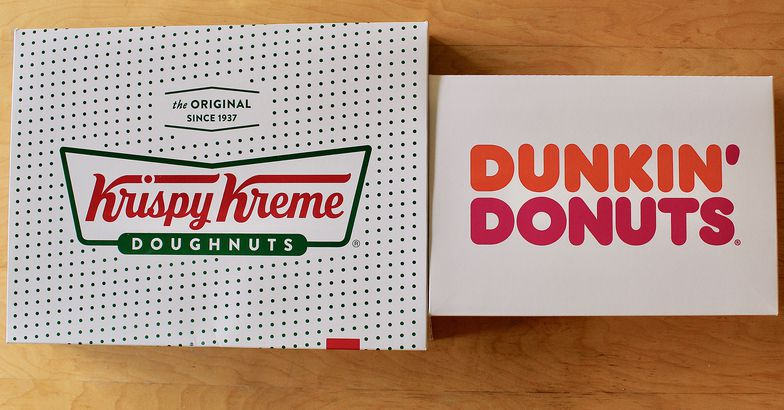 Krispy Kreme and Dunkin' Donuts boxes