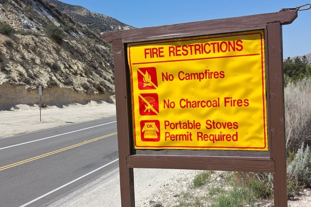 sign posting on fire restrictions in a rural area