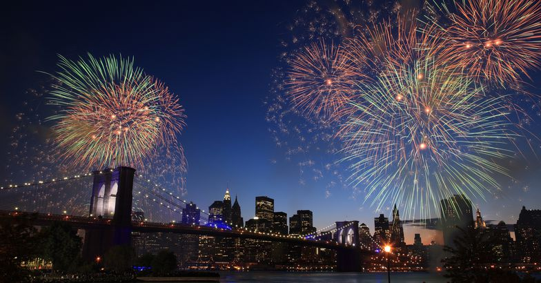 Fourth of July Fireworks over East River, New York City