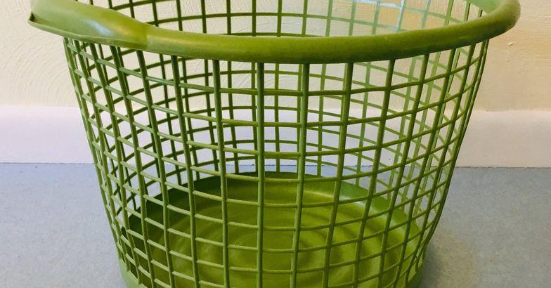 Avocado Green Vintage Laundry Basket