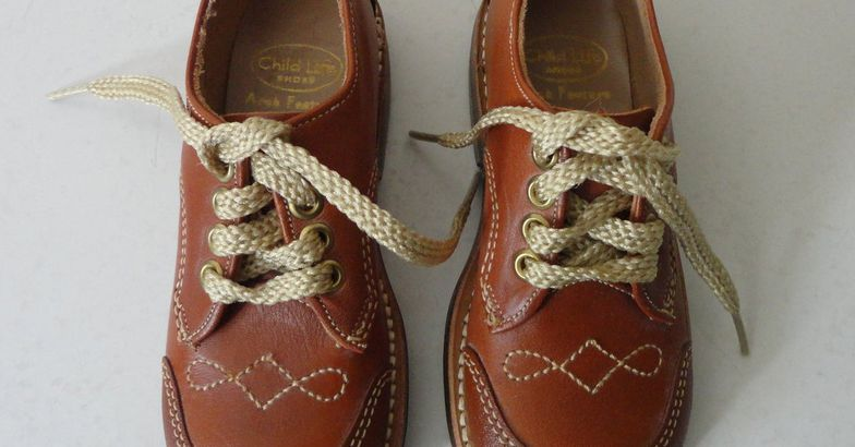 Vintage 60s' Brown Leather Boys' Oxfords
