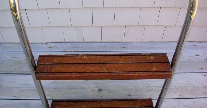 Vintage 2 Step Teak & Stainless Steel Boat Boarding Ladder w/Hardware