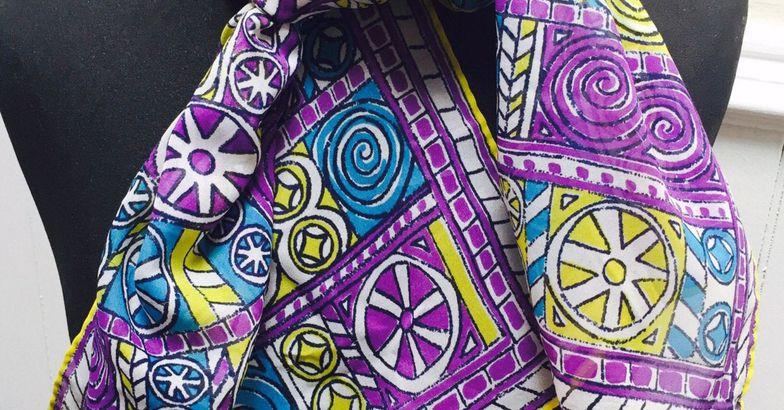 Vintage 1960s Purple, Blue Yellow Geometric Head Scarf/Kerchief by Vera